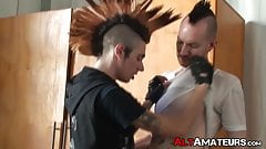 Punk rock amateurs making love passionately