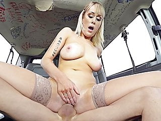 Busty teacher fucks on the Bangbus