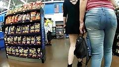 Fishnet stockings short dress cheek peek