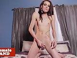 Tattooed tgirl strips before masturbating