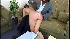 Shy schoolgirl redhead disciplined by black master