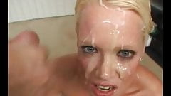 Blue eyed short haired blonde gets great double facial