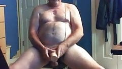 Hot daddy having fun with masturbator and eating his cum