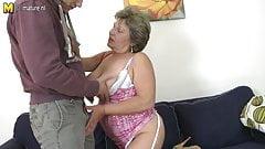 Lucky son fucks old dirty grandma