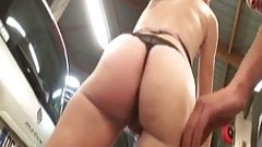 Cristal fucked in a threesome to the garage's Thumb