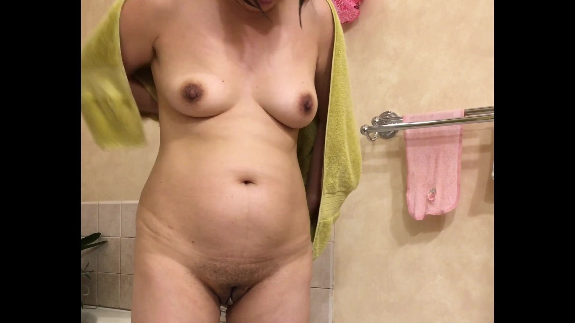 Asian Mature Spouse Shaved Pussy & Swinging Tits