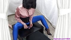 CFNM Femdom Mistress Spandex Handjob