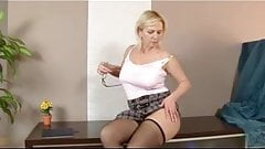 chubby blonde mature in stockings