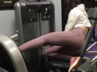 Hot chick in spandex working out in gym part 2
