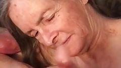 Grandma loes to watch him cum