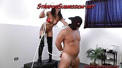 Strapon Submission to femdom dominatrix for male slave