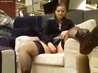 girl play with her pussy in a furnture store