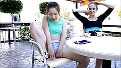 Cute Teeny Shows her pussy at Terras