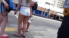 Candid voyeur ultimate blonde PAWG tight white shorts