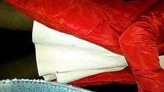 wind exposes her white underwear