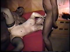 cuckold's wife gets cum on face and belly