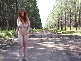 redhead on the forest road