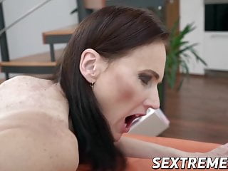 Elderly babe Alice Sharp fed cum after bouncing on dick