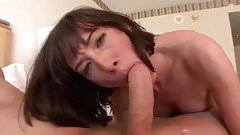 Brunette milf sucking fucking big white cock