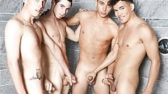 Liam sucks his friends in the shower