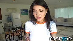 PropertySex - Hot Asian tenant with big tits fucks landlord