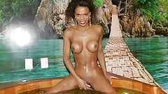 Black shemale Lavinia Magalhaes in a hot tub pissing
