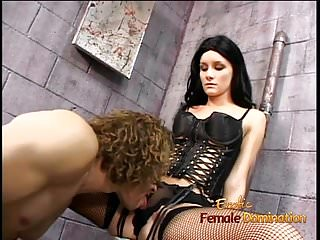 Hot raven-haired domina Leah Wilde sits on a hung dudes