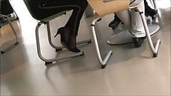 high heels and black nylon socks