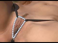 Bikini Pleasure-Brown Hair Pearls Thong