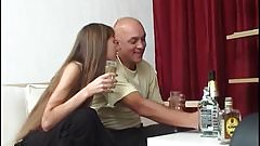 Lovely young girl with older man