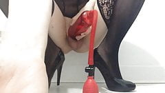 Pumped Cock Wank With Plug