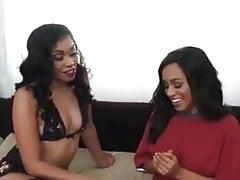 Hot Black Lesbians Having Fun On The Sofa