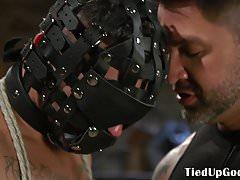 BDSM dom masks his sex slave for cocksucking