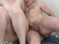 chubby whore rides on an old man's hard cock