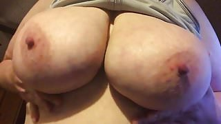 Playing with my big tits!!