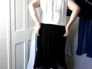 Dee undressing and getting ready for work