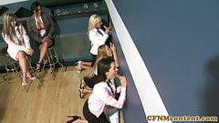 Classy cfnm cougar takes bffs to a gloryhole