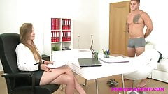FemaleAgent Amazing casting ends with studs spunk over her