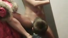 Deep risky blow job in the fitting room