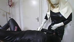 Cum on my latex nurse apron Part 1 of 2