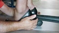 Nylon feet love in the office under the desk 2