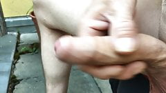 Jerk off and cum on the balcony 2