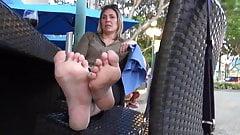 Mature Blonde dry callused soles.