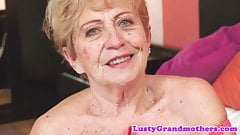 Chubby granny screwed after rubbing her tits