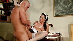 Chick in maid's uniform gets cum on her pussy after fucking