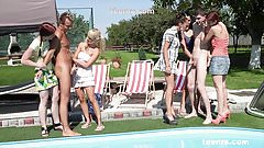 Pool Party 2 guys and 5 Czech girls Teenrs.com