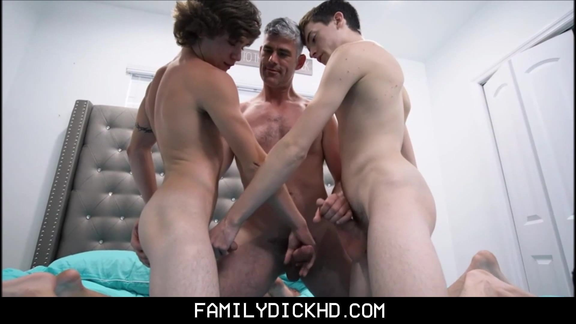 Stepdad And Twink Stepson Threesome With Younger Neighbor Boy