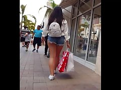 Candid voyeur extremely thick in cheeky shorts
