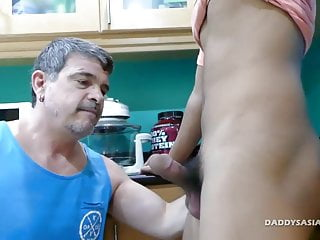 Preview 1 of not daddy Kitchen Fucks Asian Boy Josh
