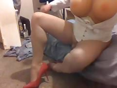 Pantyhose tranny switching high heels